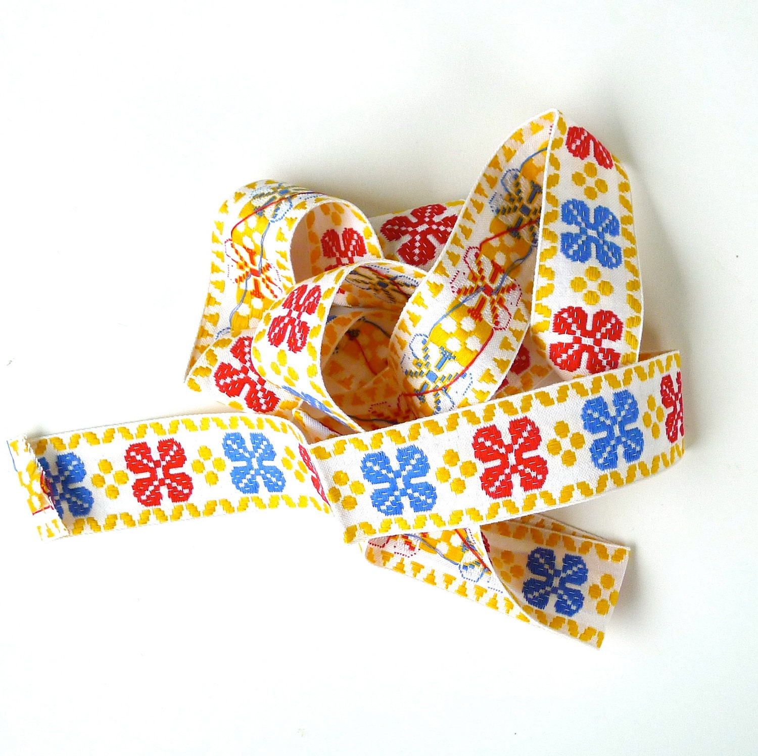 Embroidered Four Leaf Clover Folk Pattern Ribbon - marybethhale