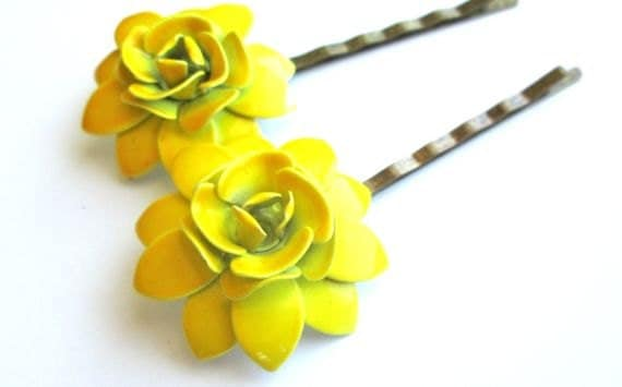 Mustard Yellow Hair Clips Vintage Jewelry Flowers Bobby Pins