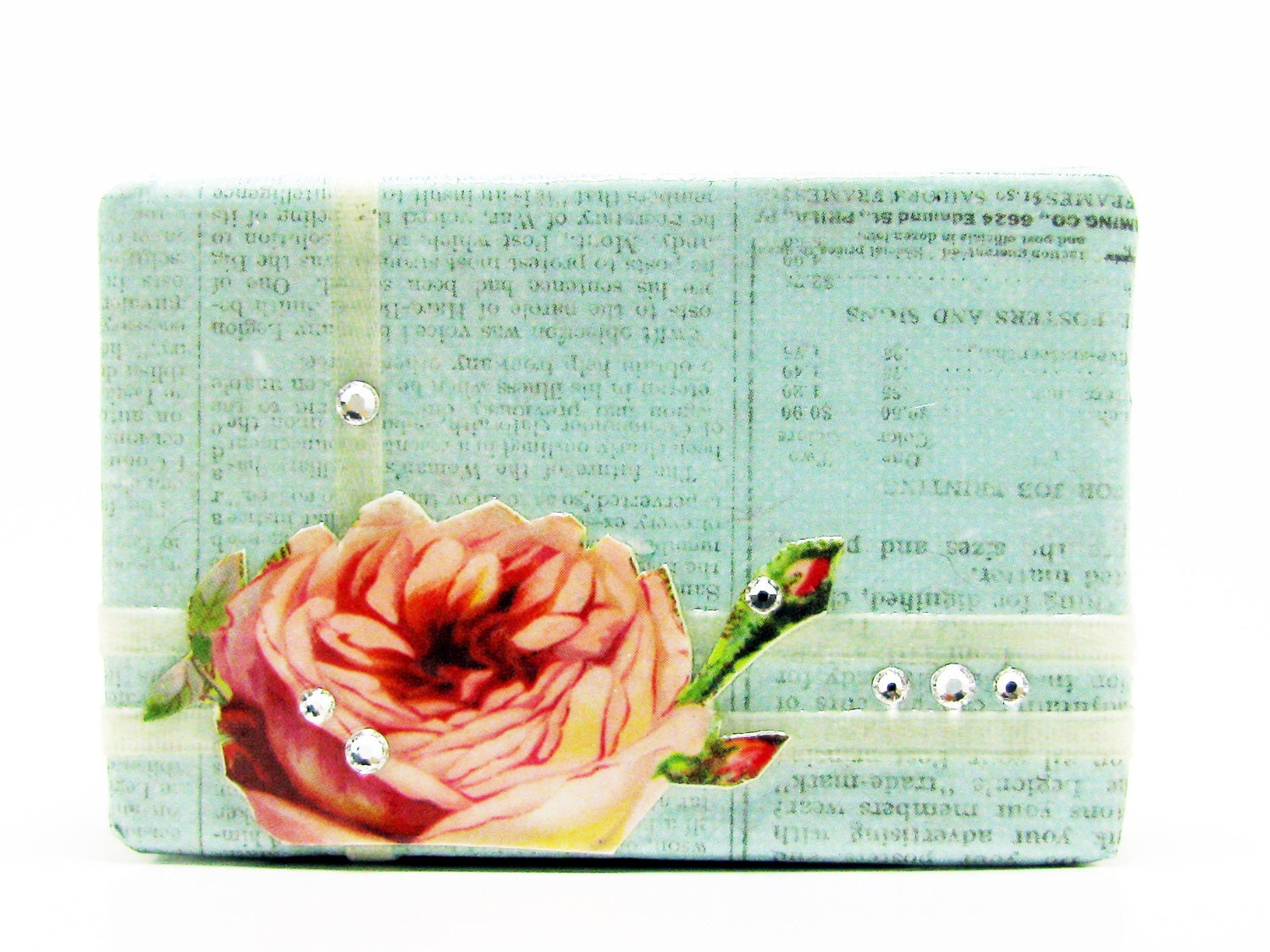 Shabby Chic Box - Pink Rose & Vintage Blue French Newspaper with Swarovski Crystals - Decorative Box - Small Box - Trinket Box - Unique Gift - EarthAndInk