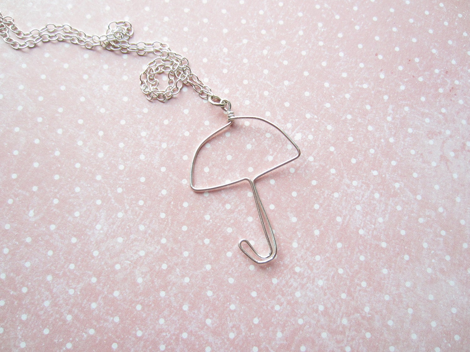 Silver Wire Sign Necklace, Umbrella Necklace