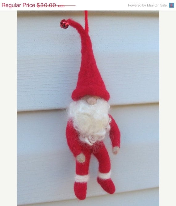 ON SALE Needle Felted Santa Elf - Woodland Doll - Santa claus elf - Needle felted christmas ornament - Santa ornament - santa doll - BitsOfFiber
