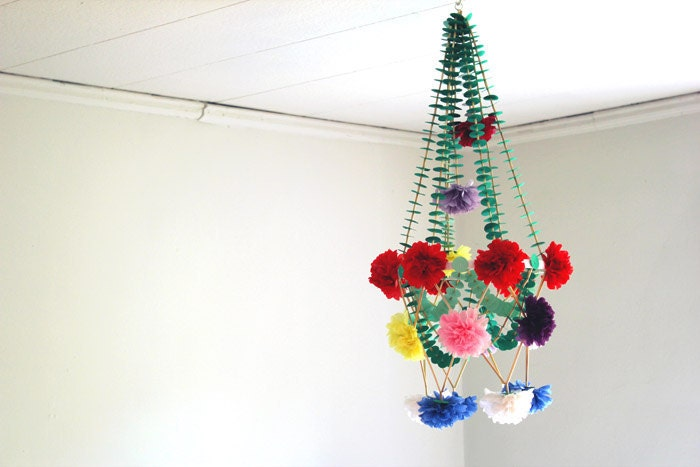 Unique Pom Pom Paper Chandelier Mobile Green