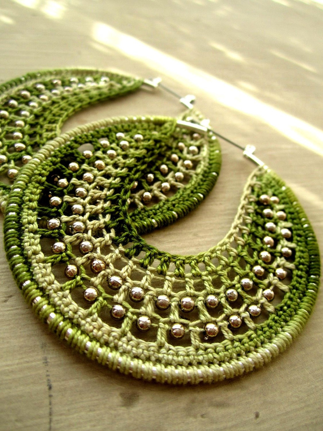 Crocheted hoops with beads lemon and lime - BohemianHooksJewelry