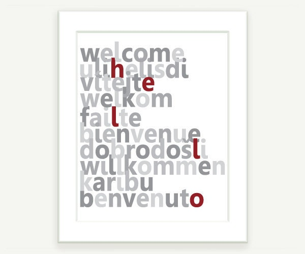 Typography Art: Welcome in 10 languages - Gray and Red - 8x10 Modern Art for your Office or Home - colorbee