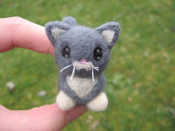 Tibbs the Gray and White Kitty needle felted cat