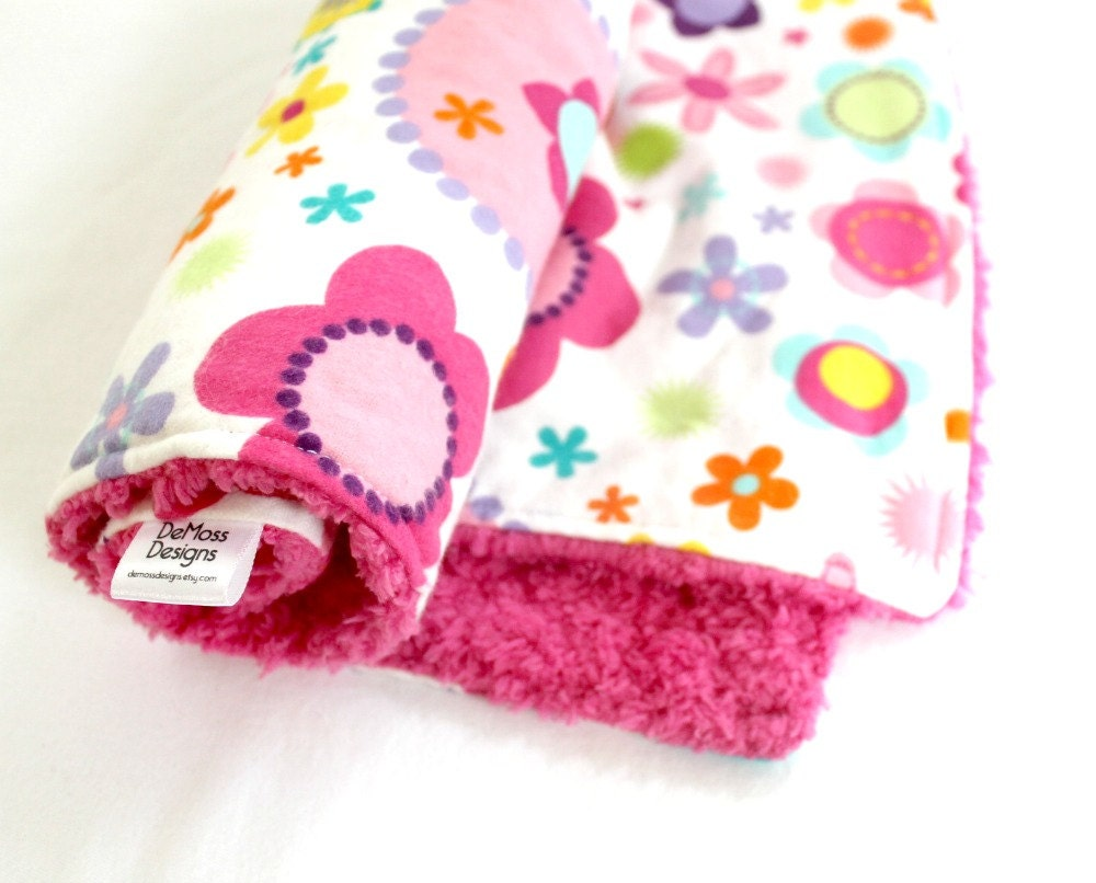 Small Ultra Soft Baby Blanket, Bright Floral with Extra Plush Pink Chenille - DeMossDesigns