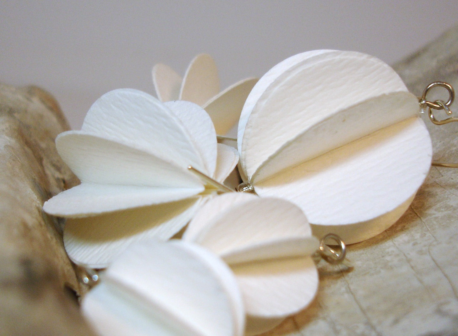Creamy White paper orb earrings on silver wires, 2 sizes available