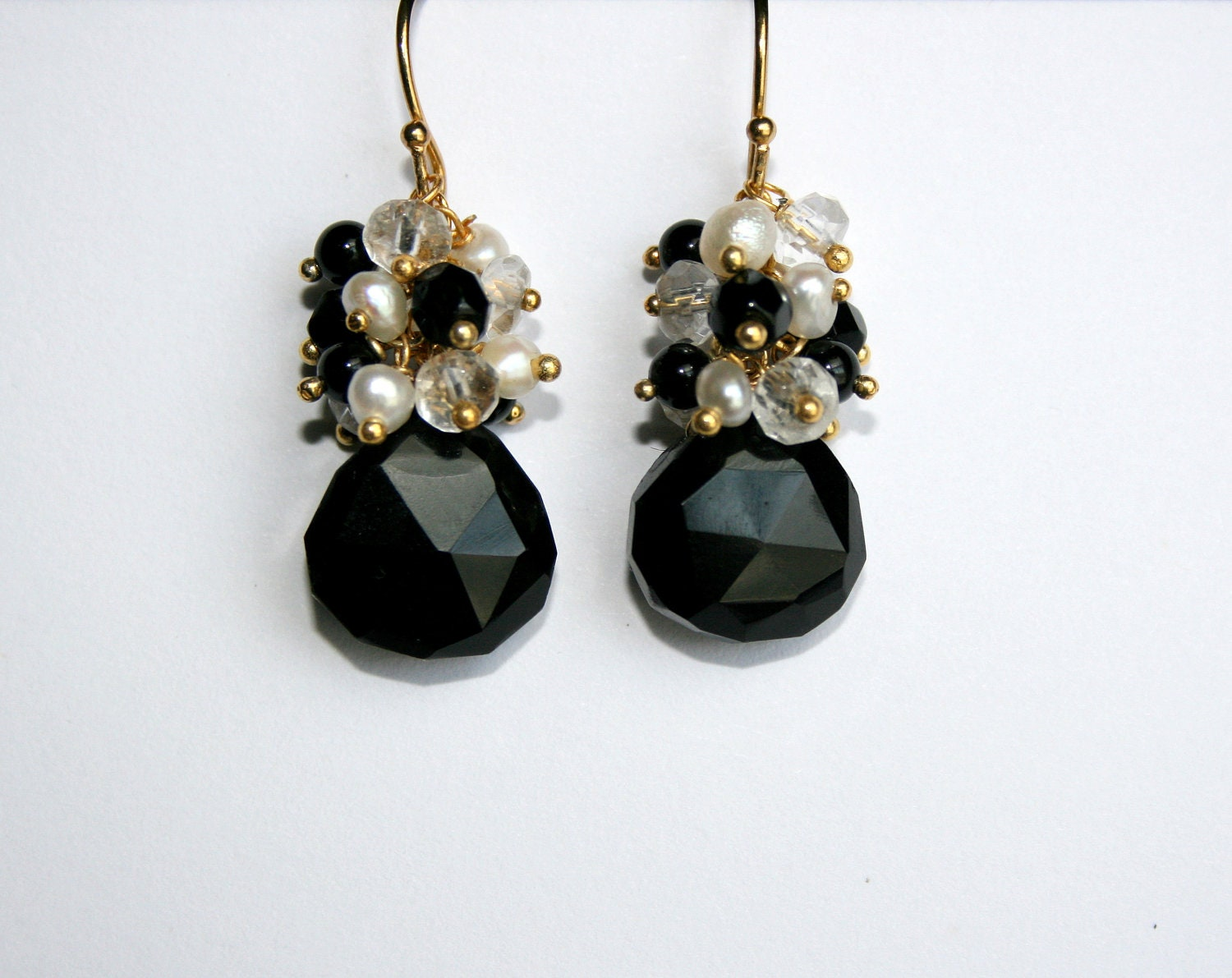 Onyx Teardrop Earrings, Black Gemstone Pearl Cluster, Gold Vermeil