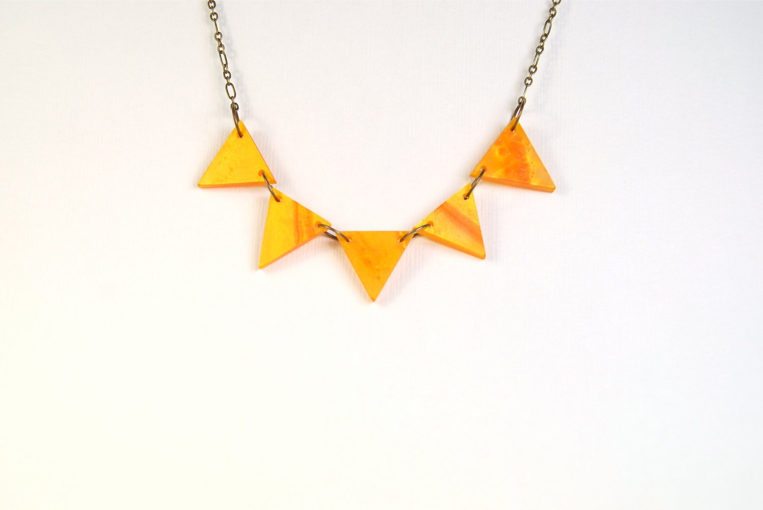 Triangle Orange Golden Fall Pennant Necklace - ThePolkadotMagpie