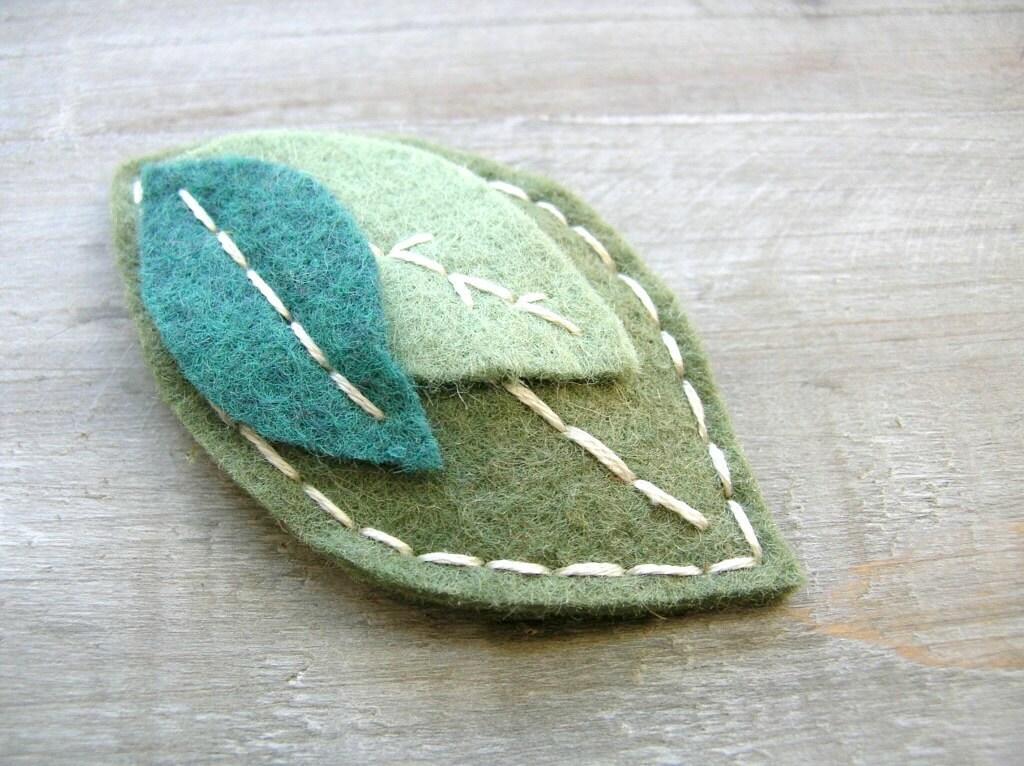 Felt Leaf Clip // Gray Greens // Woodland Hair Accessory by OrdinaryMommy on Etsy - OrdinaryMommy