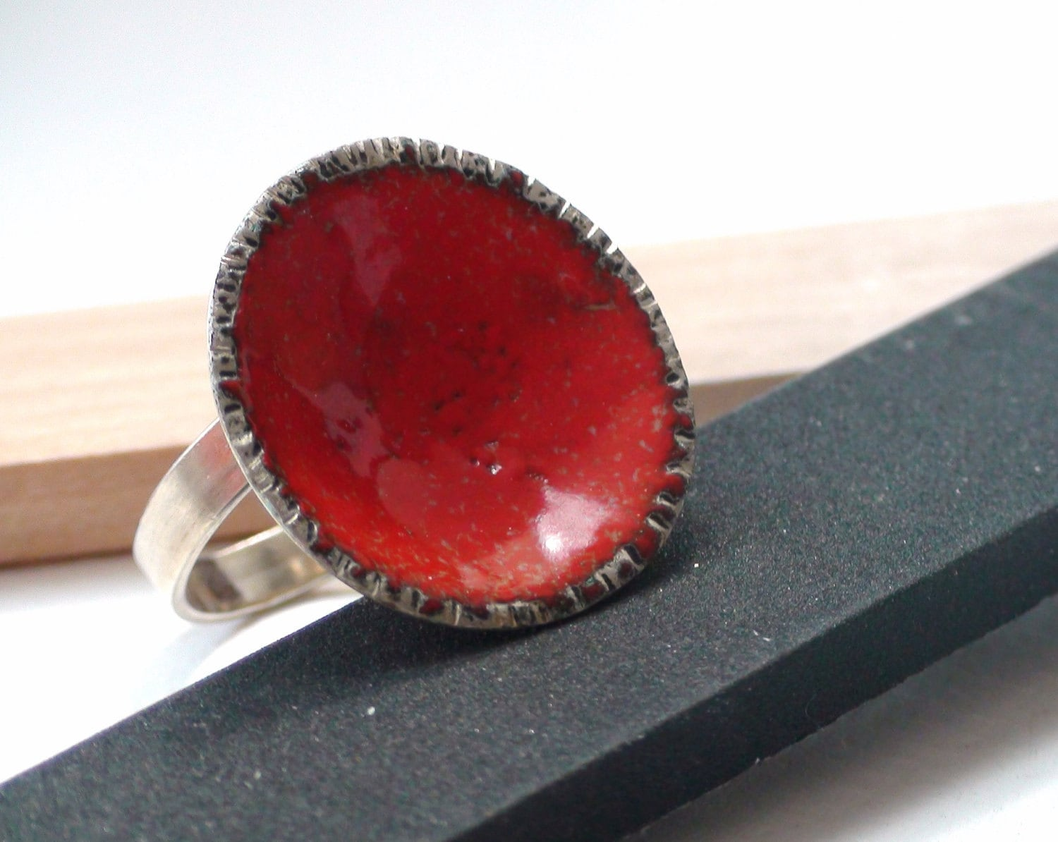 Sterling silver adjustable red glass enamel dome ring