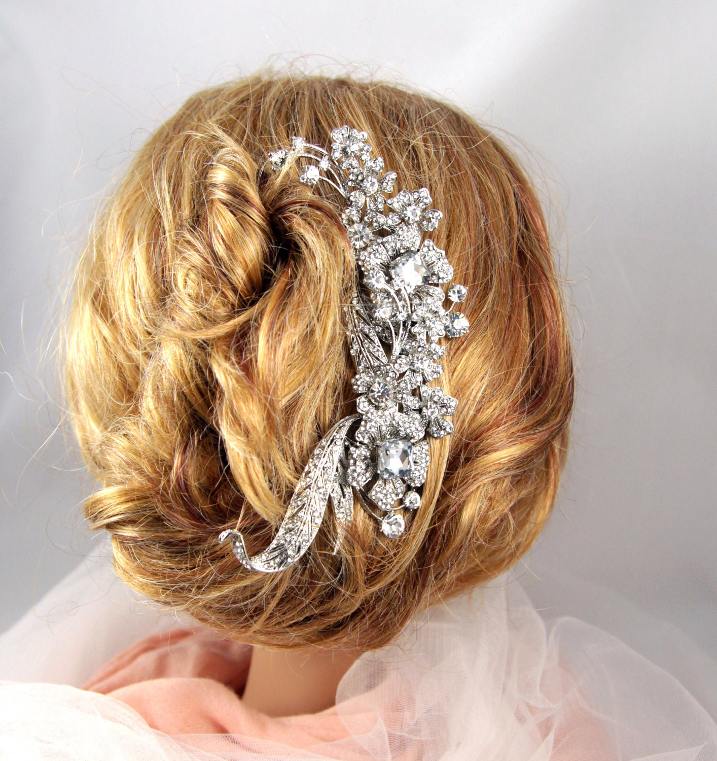 Miranda - Wedding Bridal Hair Comb, Accessories, White, Rhinestones, Crystal, Austrian crystal, Floral, Vintage, Aide