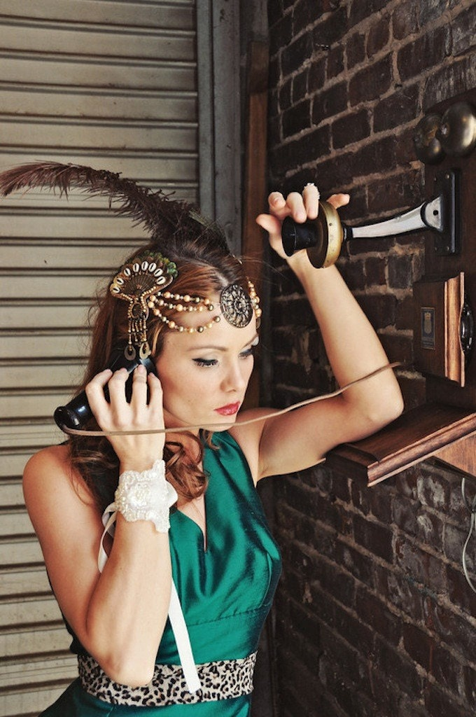 Cleopatra Flapper Feather Headdress - Gold, Bronze, Copper and Greens  - Limited -  CLEO - LaCocoRouge