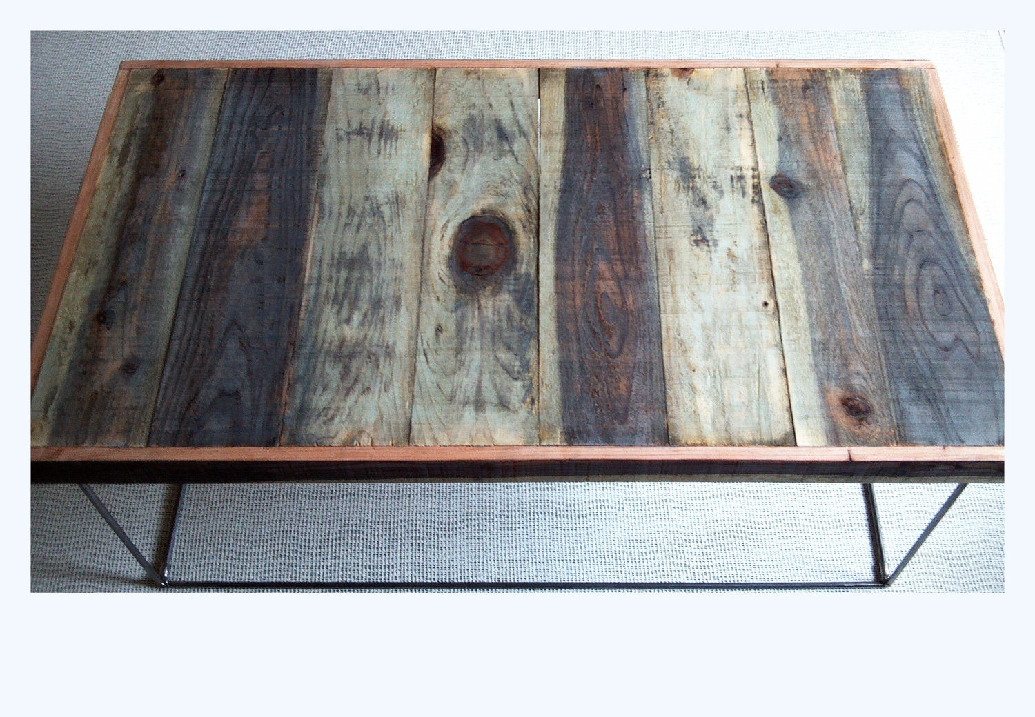 Barnwood Coffee Table - Industrial Furniture - Rustic Barnwood Coffee Table with Box Top and Steel Box Frame