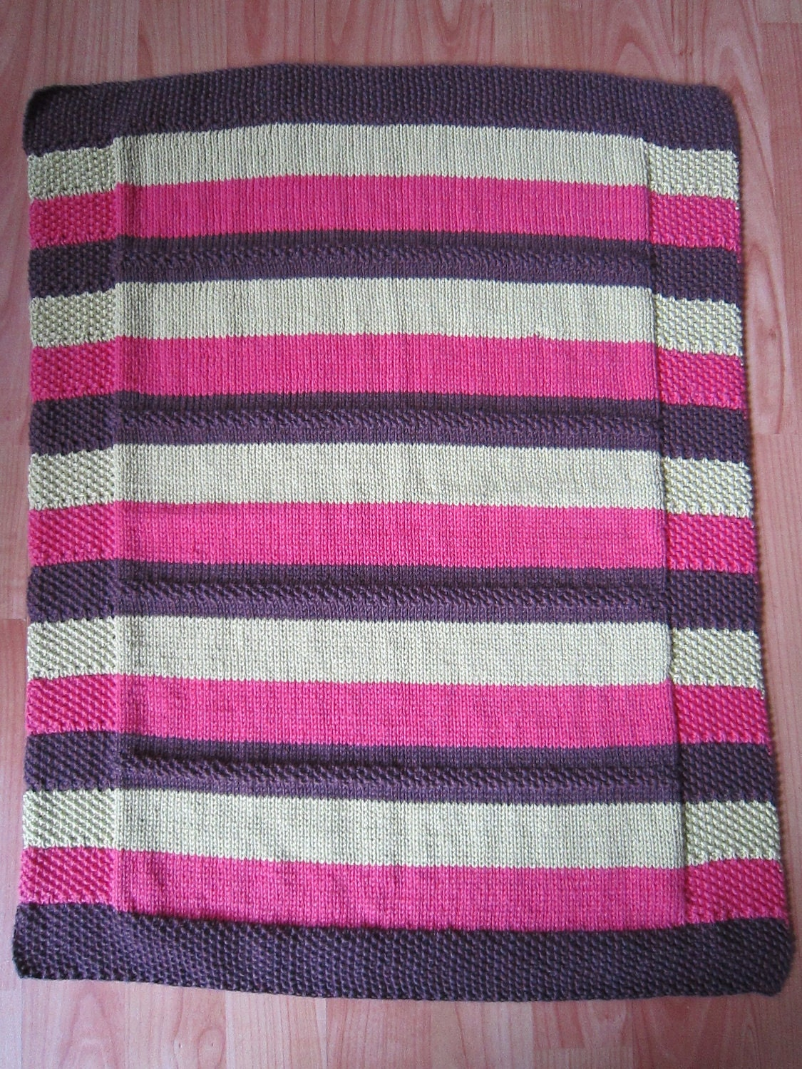 Hand Knitted Striped Wool and Cotton Baby Blanket by scottishcraft