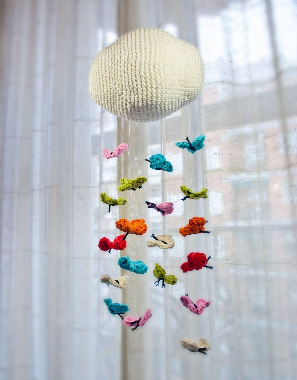 PDF Crochet Pattern Tutorial PHOTOTUTORIAL & Mobile - Butterfly Mobile - Permissão para vender itens acabados