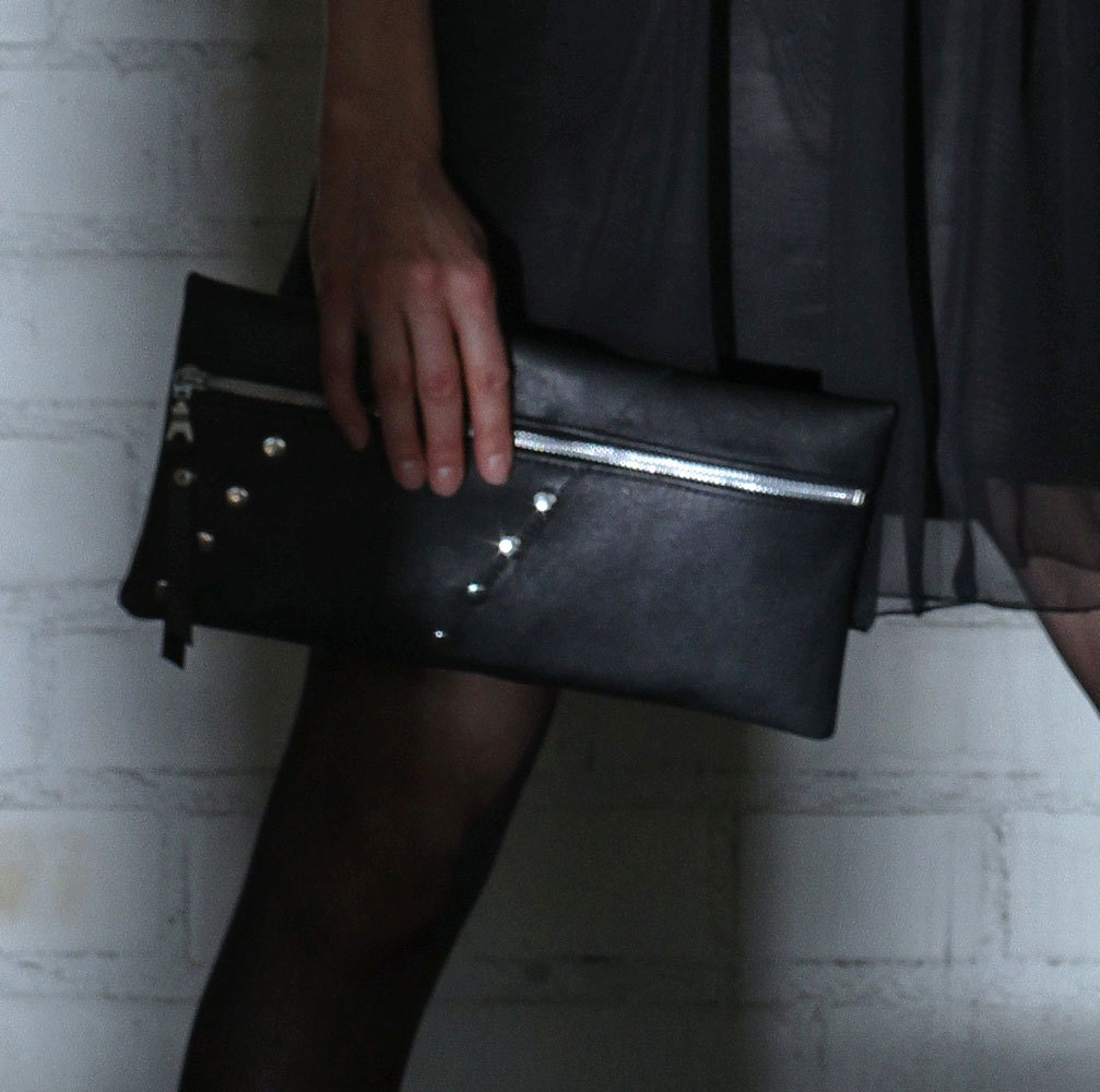 Black Leather Zipper Clutch with Silver Studs, Ecodesign, made from recycled leather - Exleather