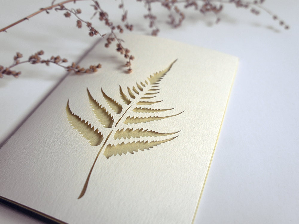 Fern - papercut greeting card - 4 x 6 inches - Papercutout