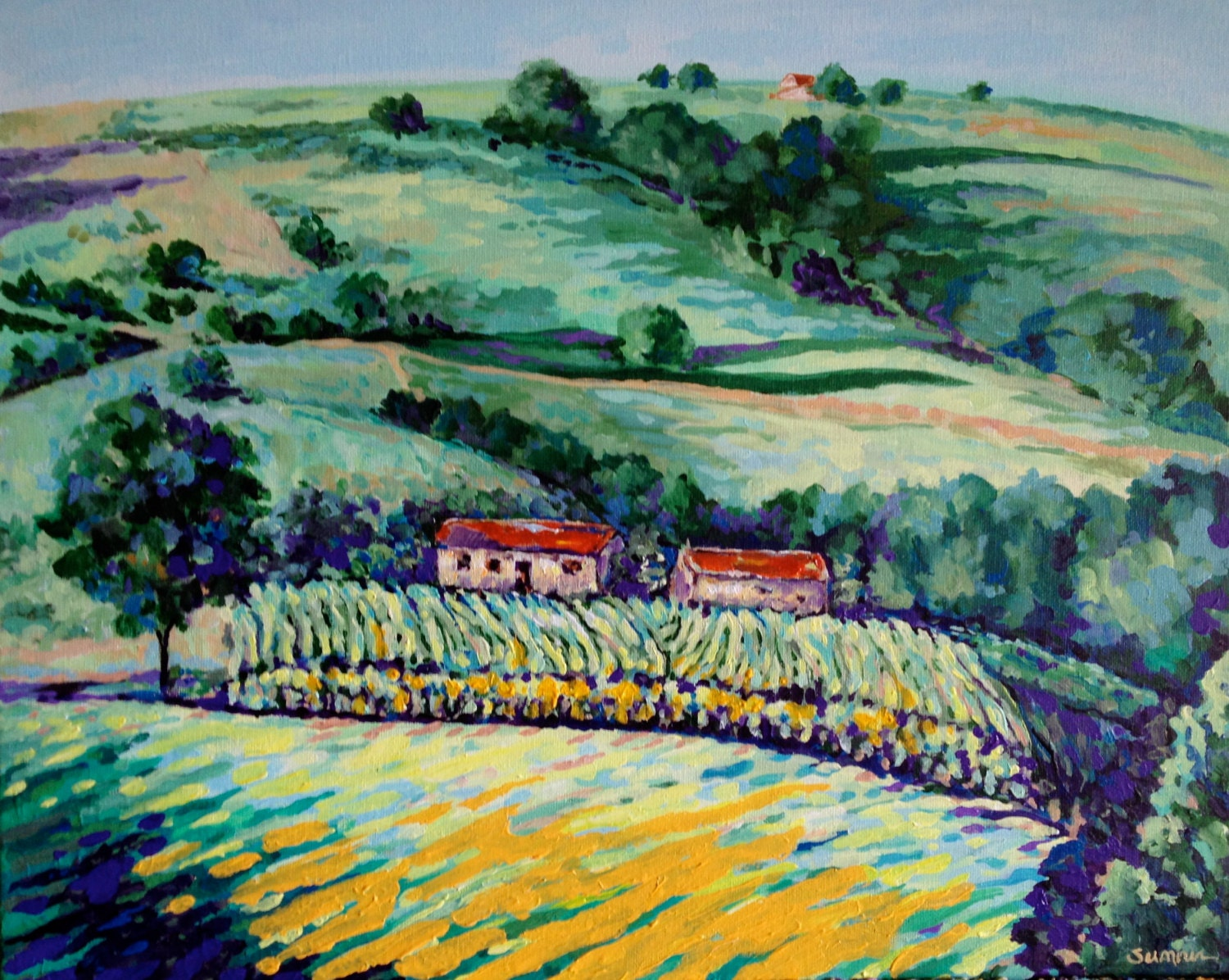 French Countryside, 16 x 20 Acrylic Painting, Impressionism, Gallery-Wrappd Canvas - rosemarysumner