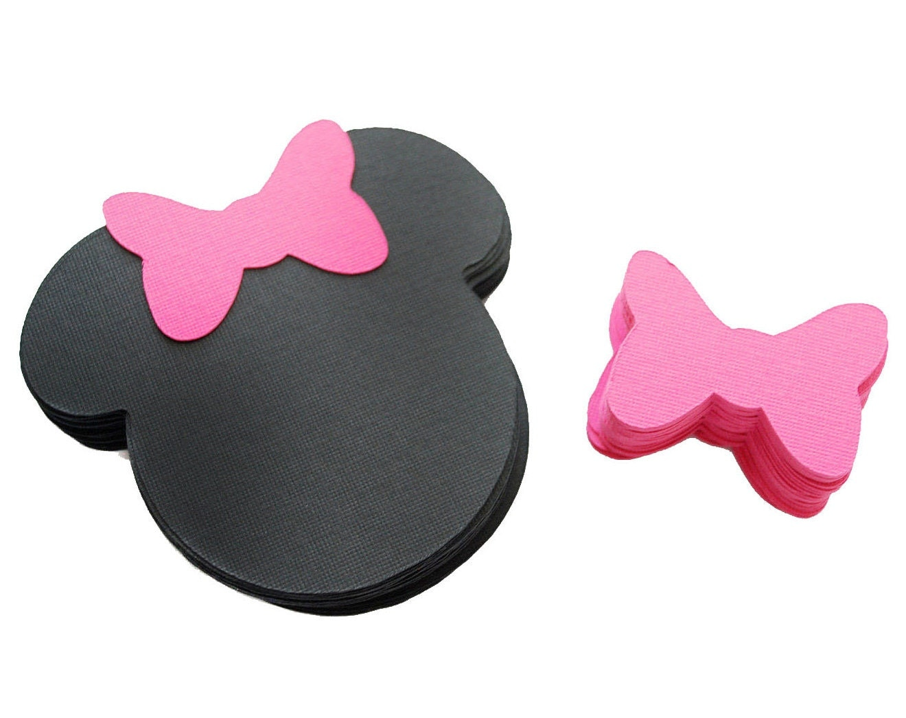 24 Minnie Mouse die cut (4 x3.75 inches) in black with hot pink bow A206