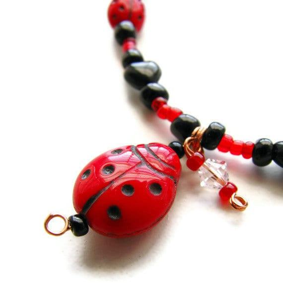 Ladybug Garden Bracelet with Czech Glass and Swarovski CLEARANCE - heversonart