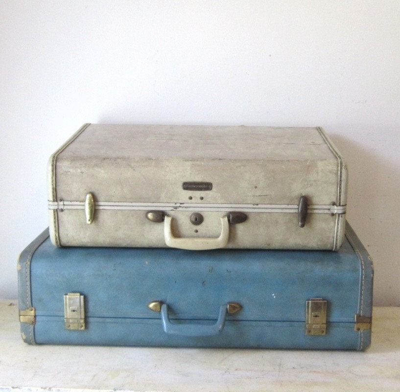 Vintage White Ivory Marbled Luggage Suitcase Home Decor Storage Display Prop Gift for Her Summer Fall