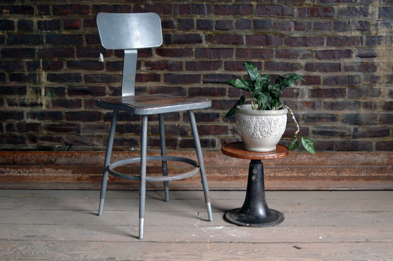 Vintage Grey industrial Stool with Backrest - territoryhardgoods