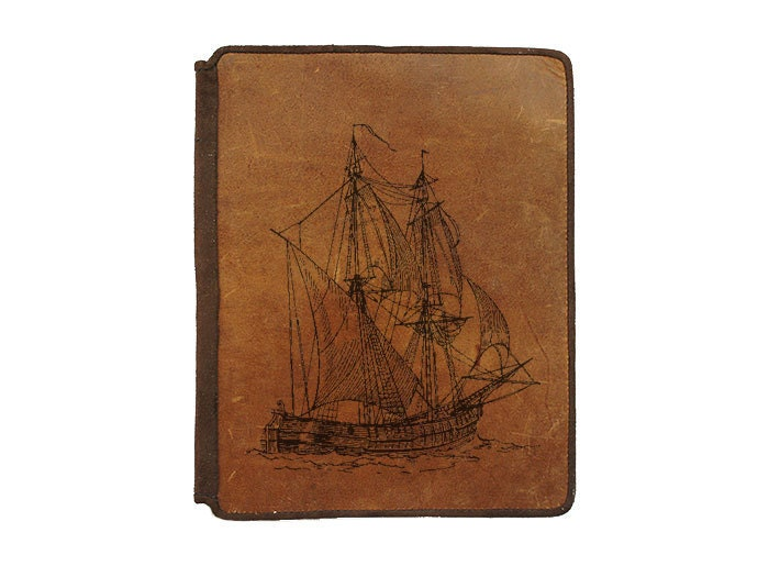 Ipad 2 Leather Book Cover Case - Sail Boat