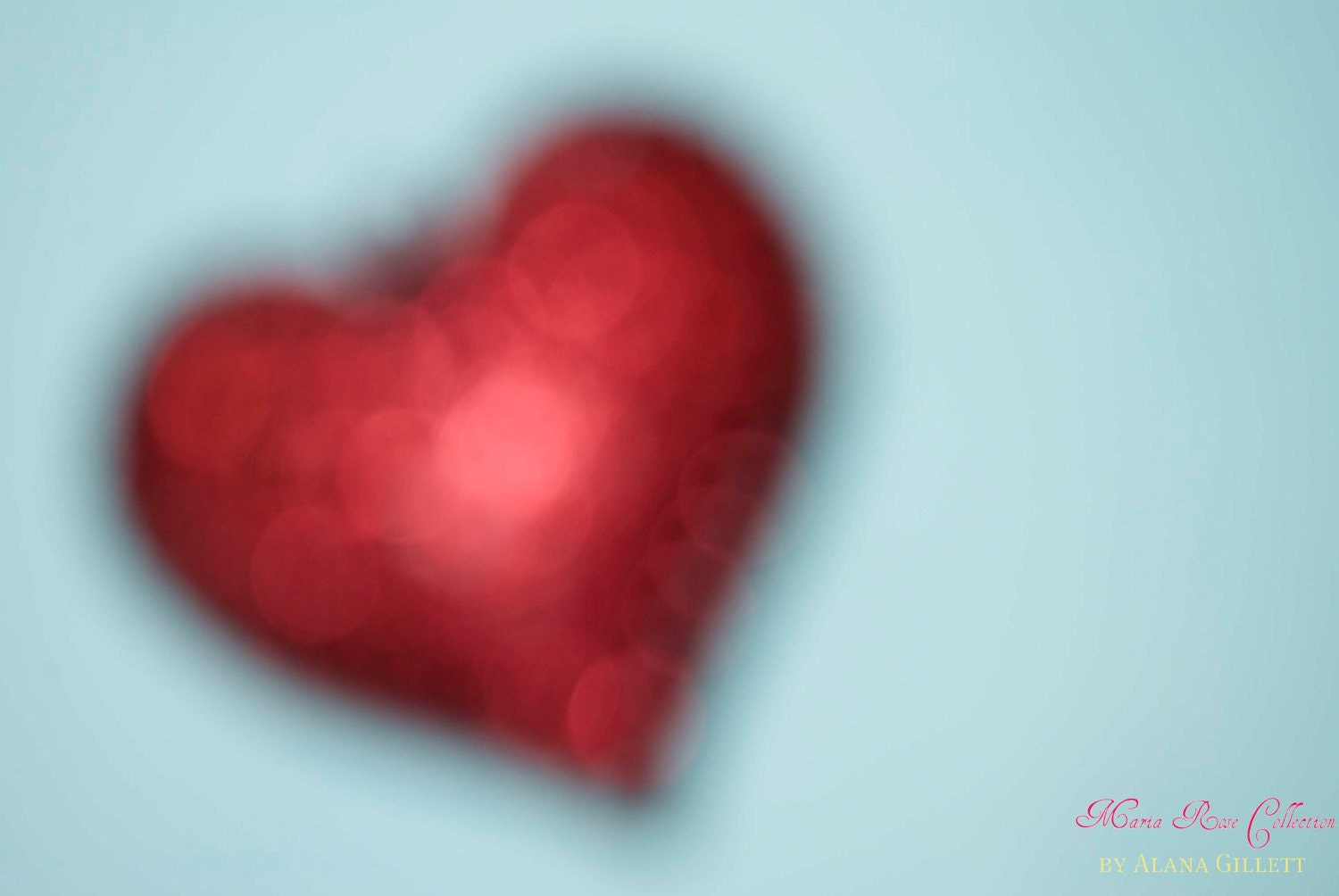 Soft Heart- Fine Art Photography print 5x7 by Alana Gillett- Ruby Red Aquamarine Teal Baby Blue Bokeh Dreamy Valentine's Day Love Wall Art - MariaRoseCollection