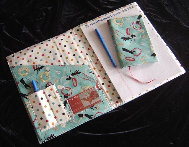 Flirty Fifties Themed Fabric Notepad Portfolio Planner with BONUS Book Cover