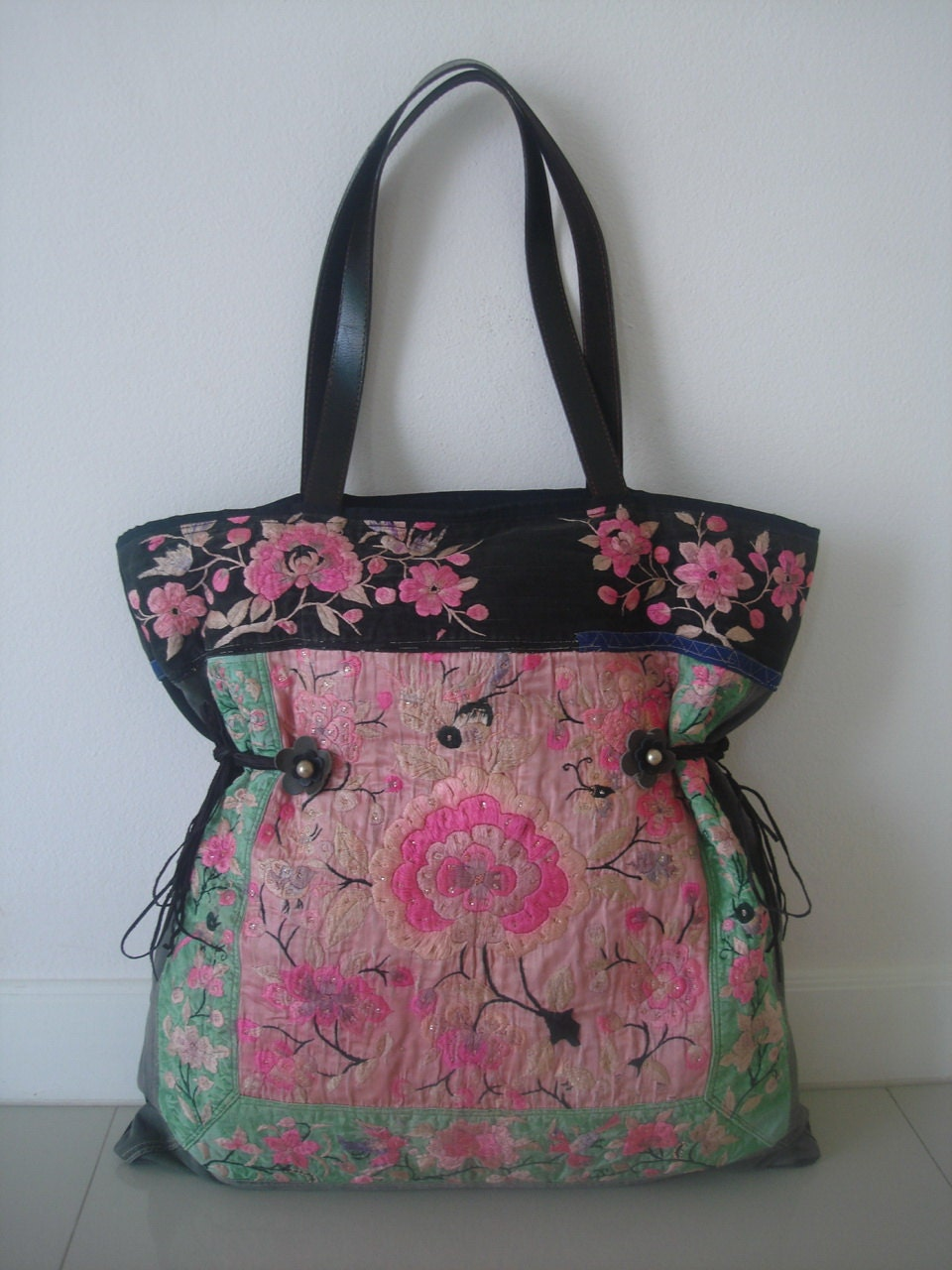 Oversized Tote/vintage -Handmade Ethnic Hmong Bag HB-280