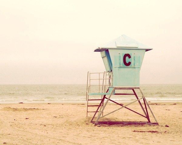 "Mint green, pastel, sandy yellow, teal, beach, California, Cornado, vacation, Life Guard Stand, sea breeze, fine art photograph 8""x10"" - diemdesign"