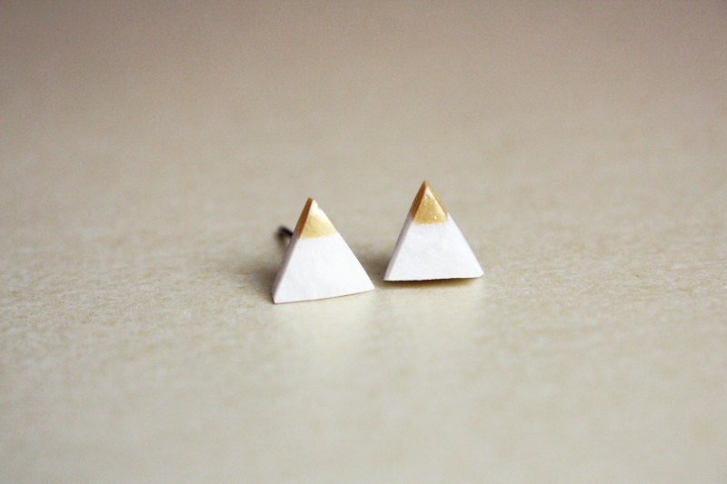 gold dipped tiny triangle studs - geometric jewelry - white