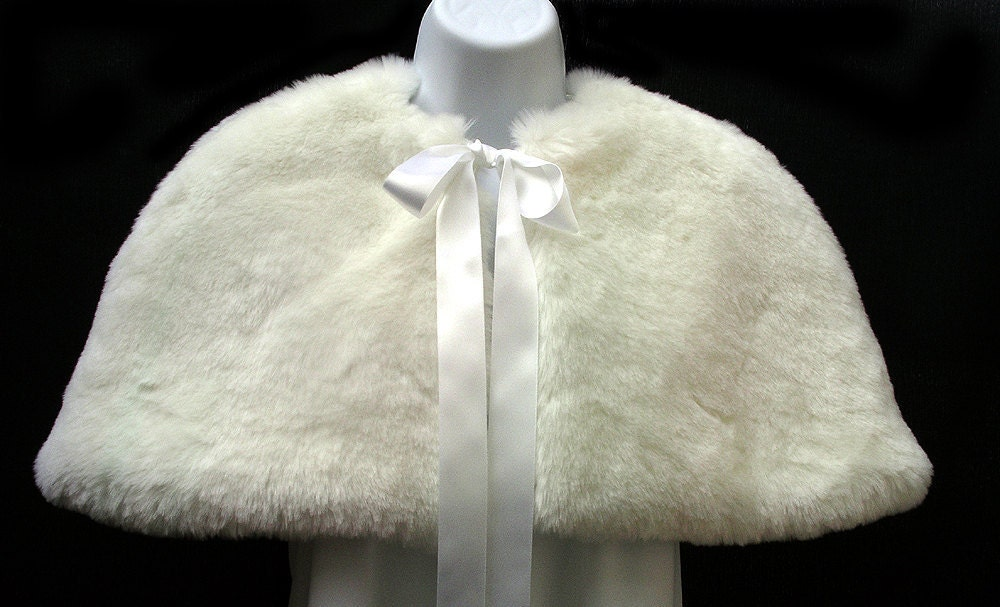 SALE Luxury faux fur child cape with ribbon ties for weddings, communion, christening