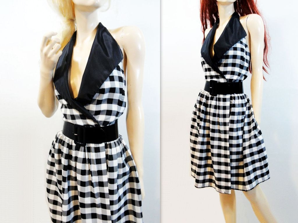 Vintage Dress 1980s Does 50s Marilyn Monroe Paris Designer Black White Plaid Halter Dress  S / M