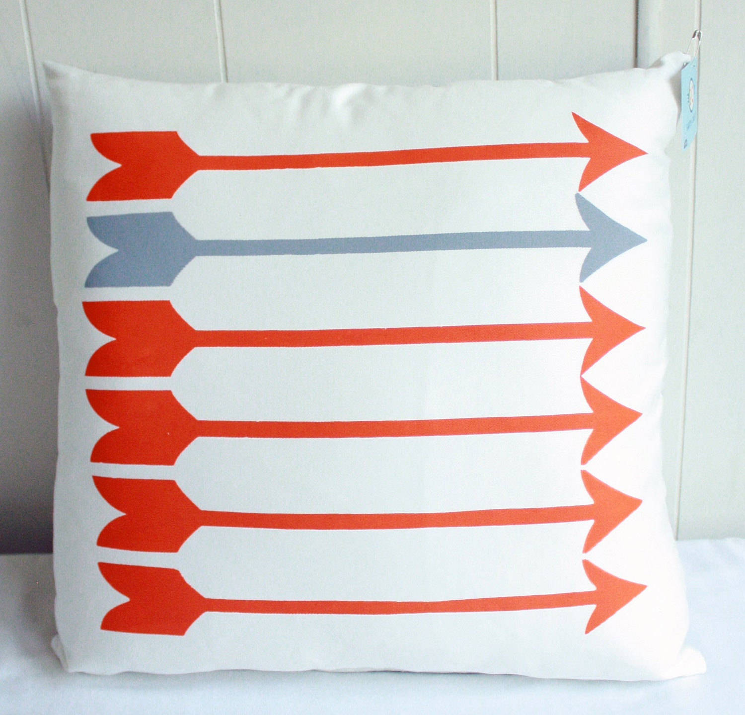 Sharp Shooter - arrow pattern, orange and grey organic screenprinted pillow 18x18 - EarthCadets
