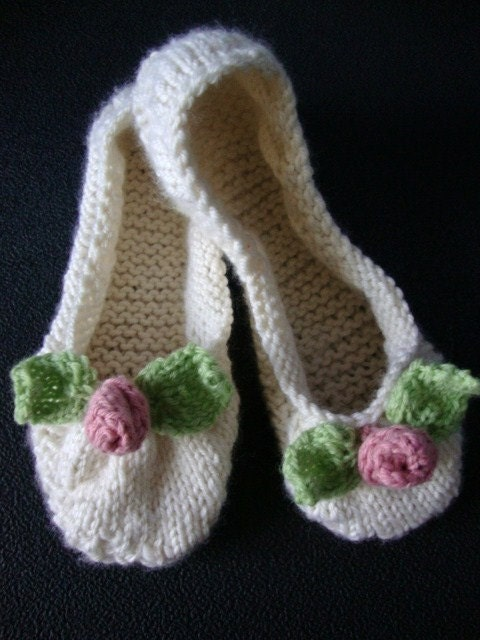 ... Rosebud Ballet Flat Slipper Knitting Pattern PDF- Easy for Women or Teen