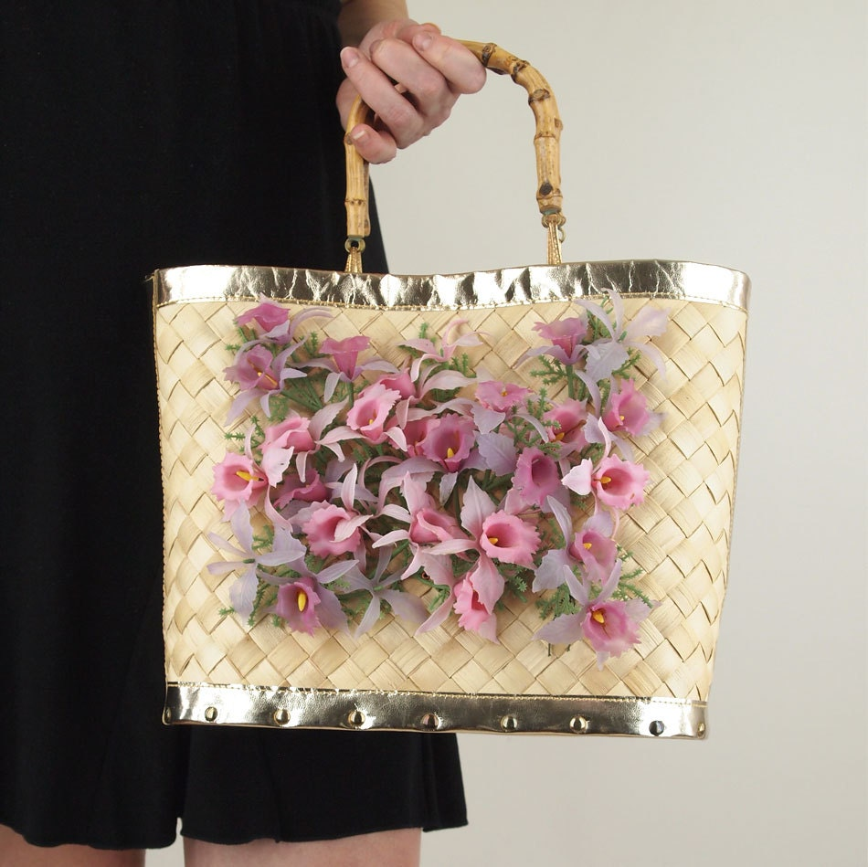 Vintage Palm Leaf Tote with Plastic Orchids - Kitschy/Cool - denisebrain