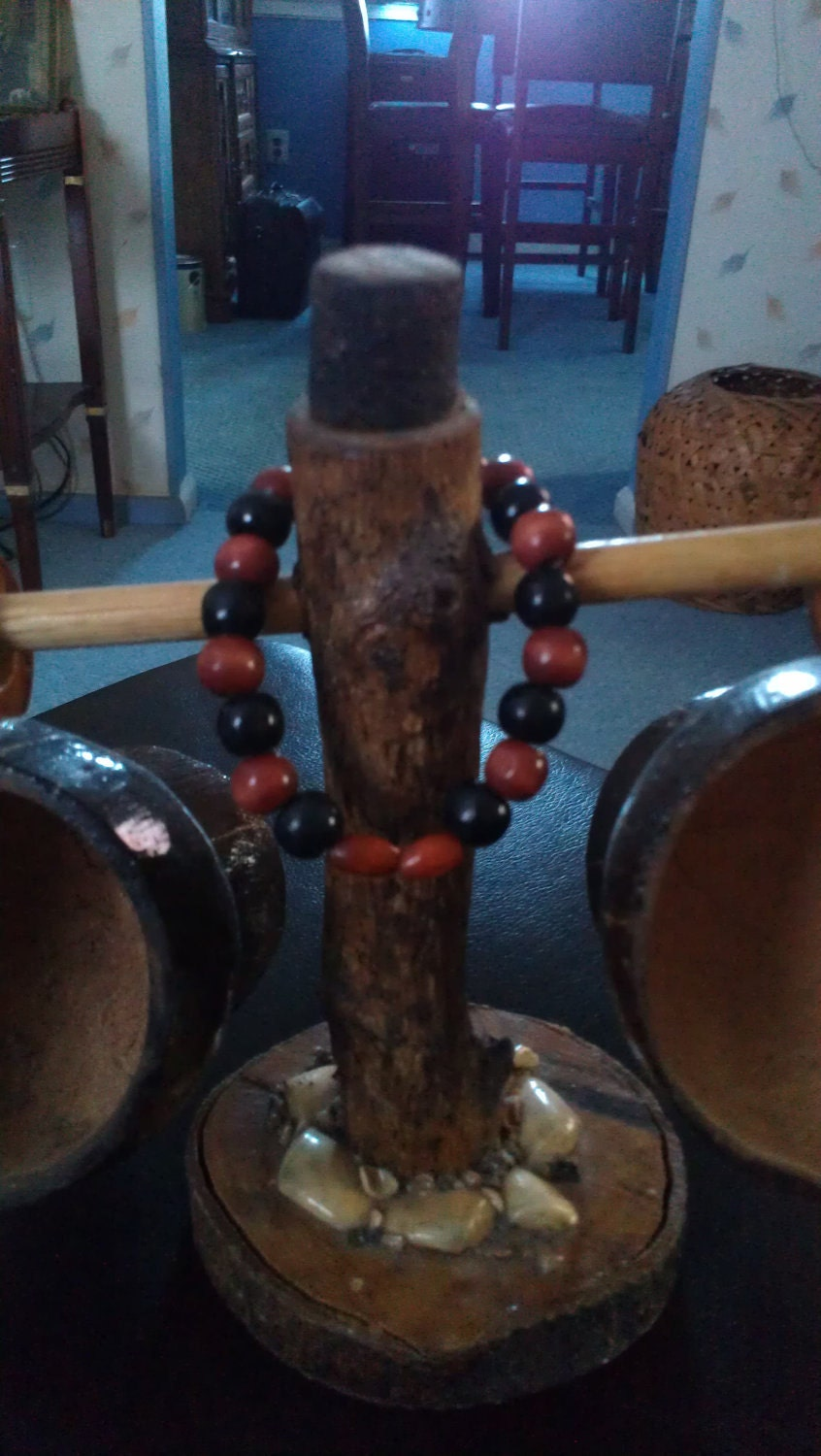 Men's Black and Rust Red Wooden Beaded Bracelet with Stretch Elastic Cord