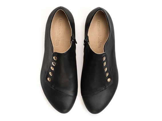 WINTER SALE, Grace, Black Flats, leather shoes - TamarShalem
