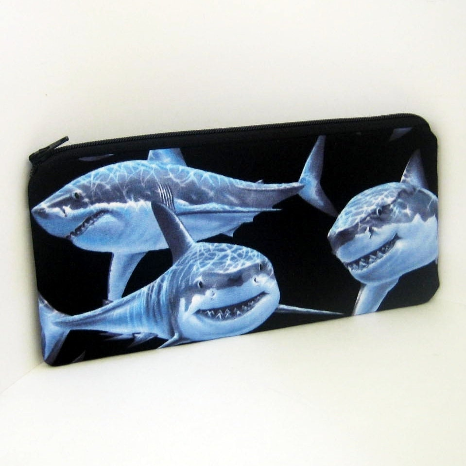 Long Zipper Pencil Pouch SHARKS - OceanPatch