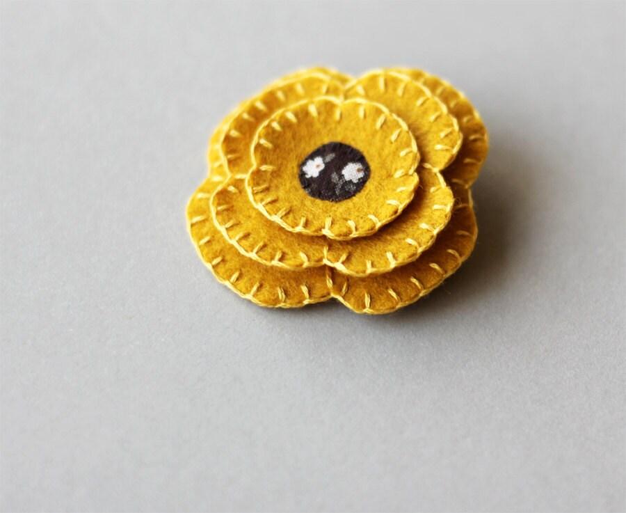 Mustard Golden Yellow Flower Brooch Felt Pin - myhideaway