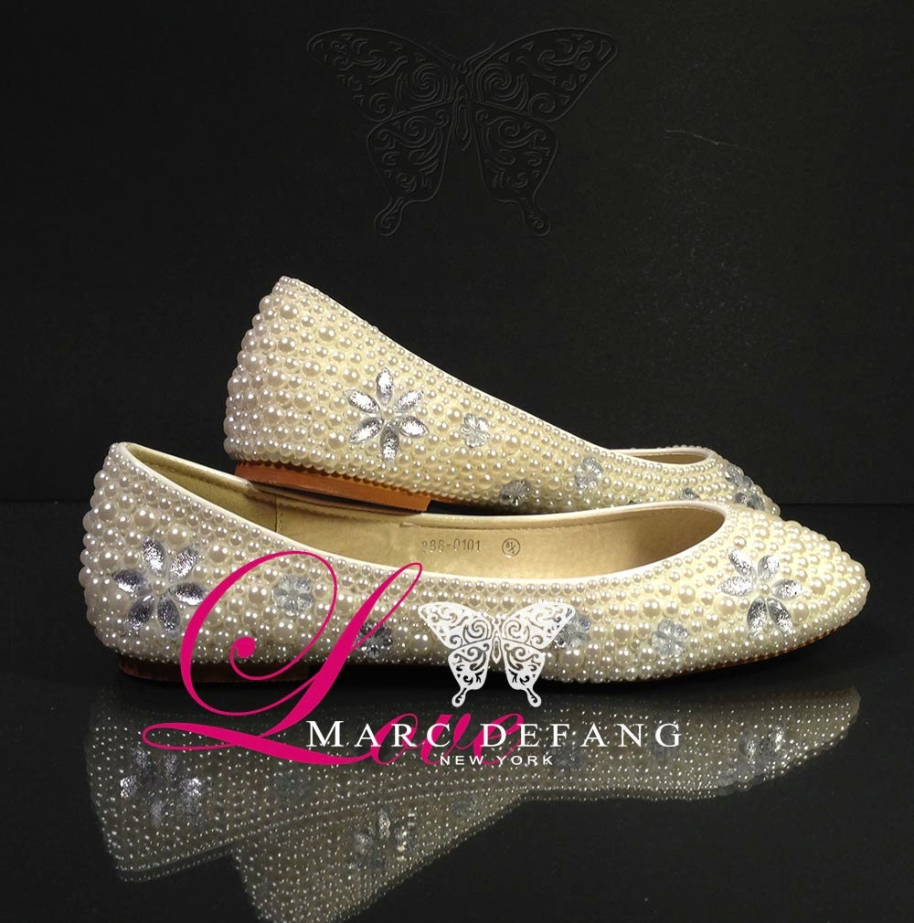 Ivory Luxury Flats, Clear Crystal Floral Motif