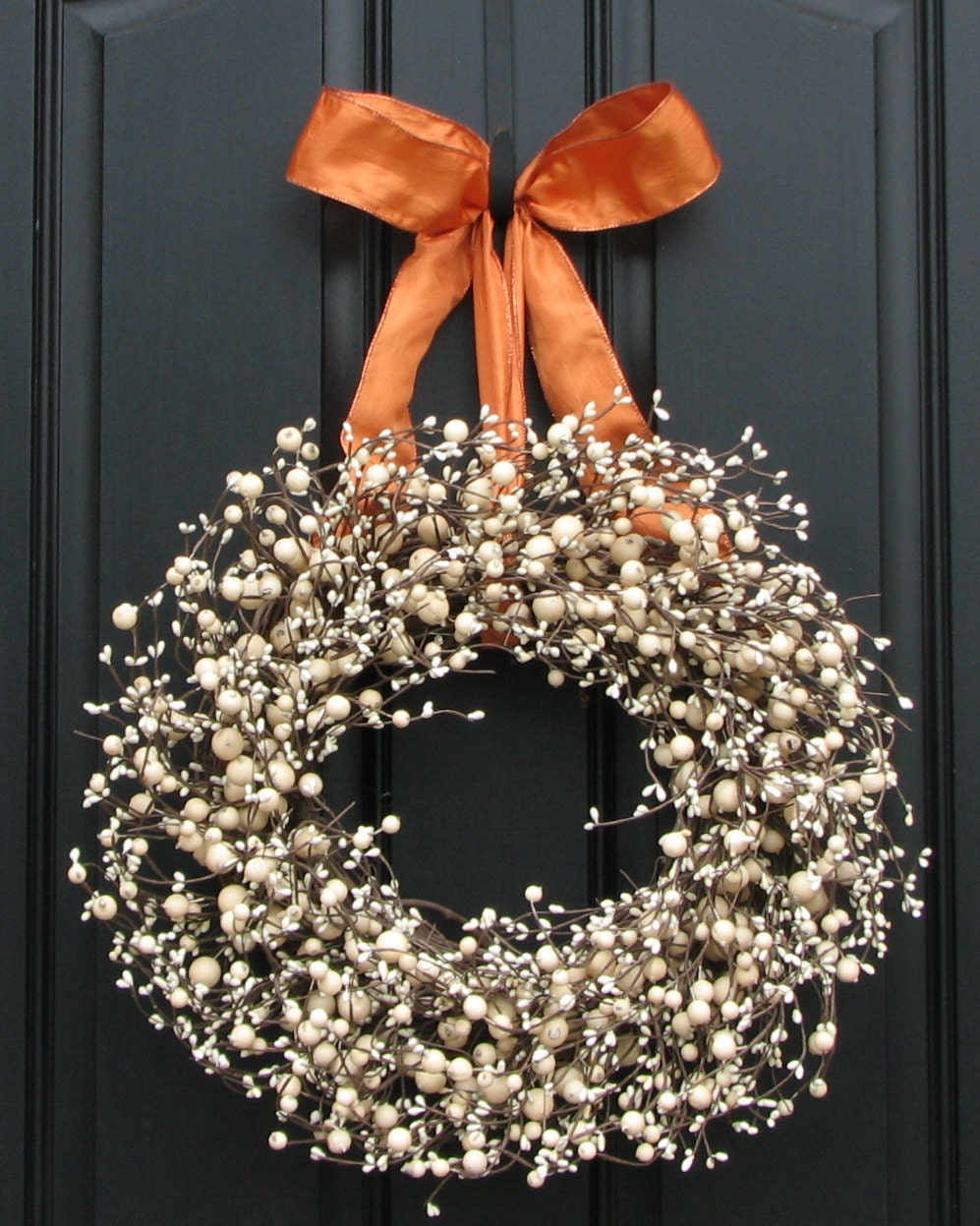 Fall Wreath for Front Door Decor - Orange and Cream Berry Wreath for Fall