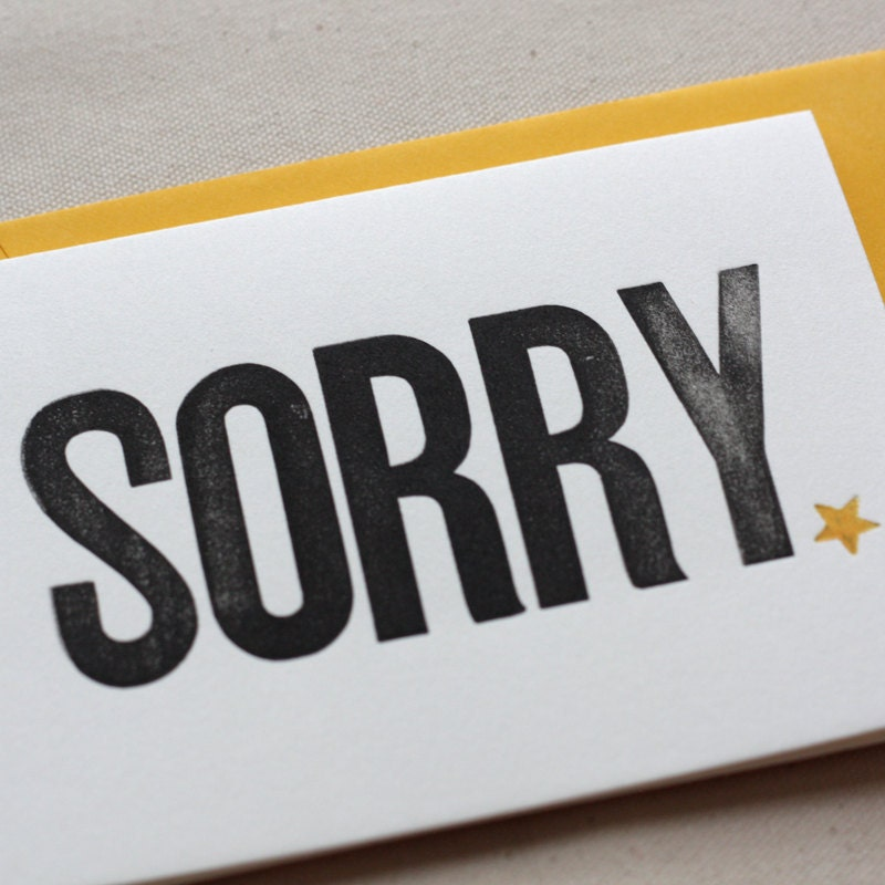 Sorry - Letterpress card
