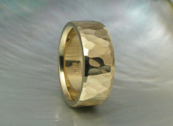 wide ring unique hammered wedding band for men or women comfort fit 7mm