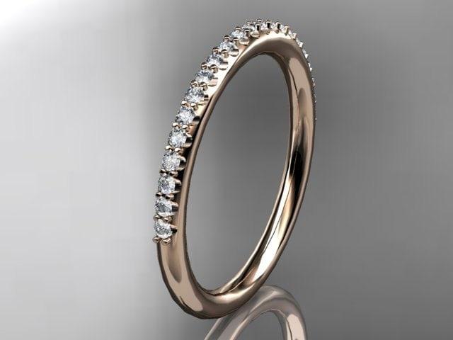 14k  rose gold diamond unique wedding ring,engagement ring,wedding band,stacking ring