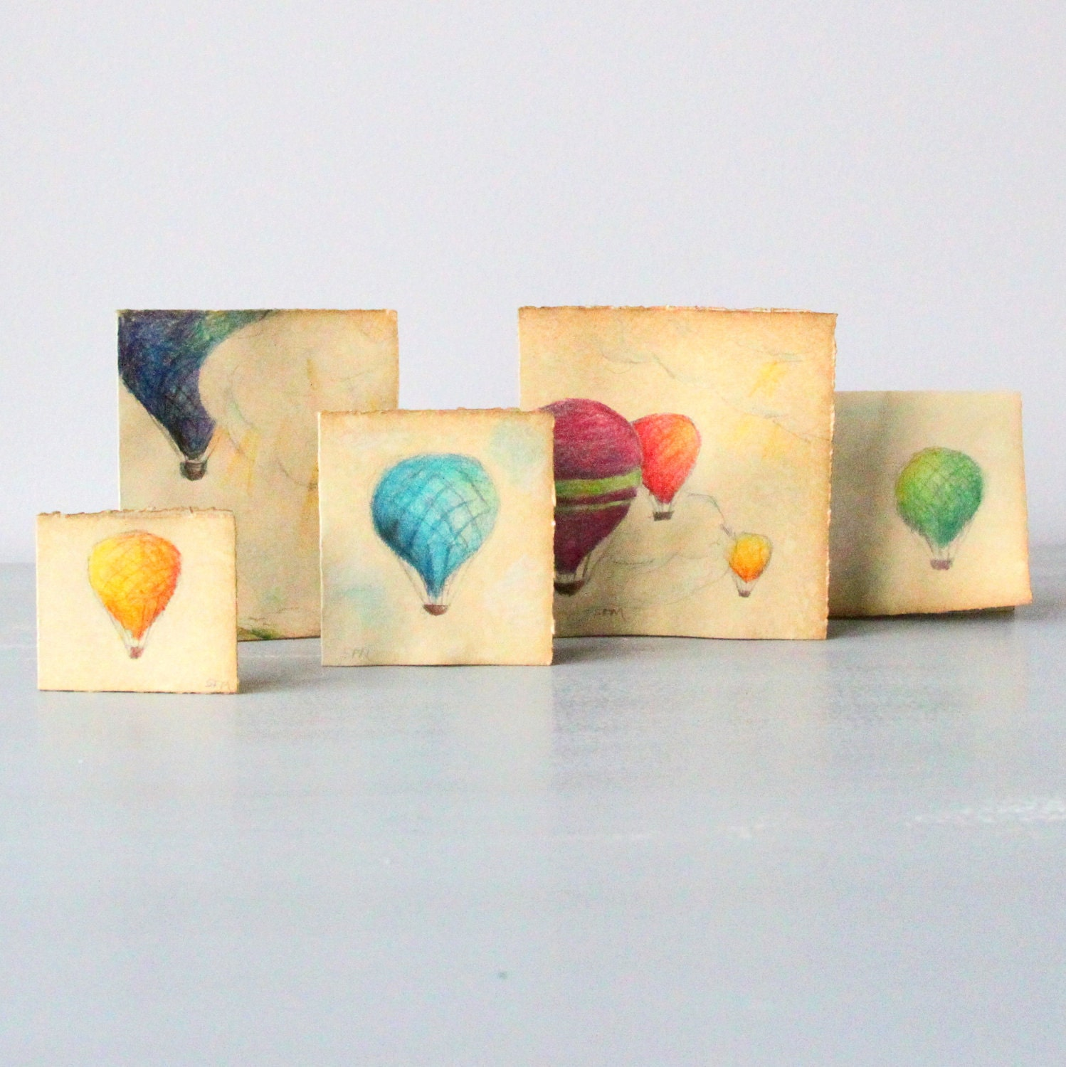 Hot Air Balloon Note Cards - set of 5