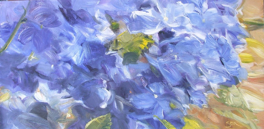 "Small Original Oil Painting -  Hydrangea Study on Canvas Paper, 6"" x 12"""