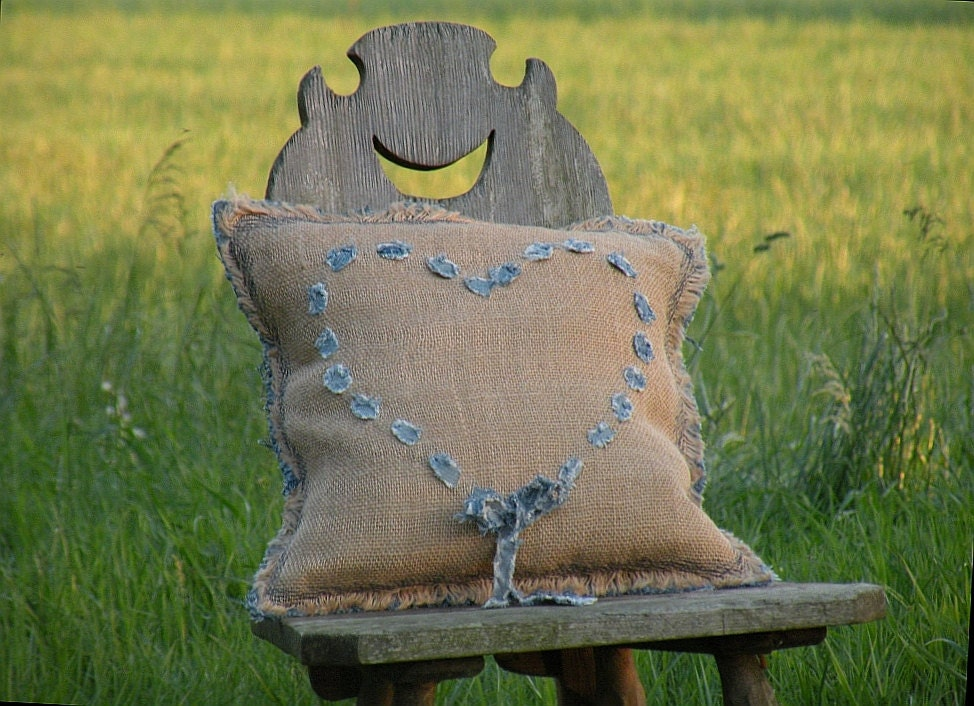 Pillow Full of Love with woven jeans heart 16 x 16 inch. Made from recycled jeans and jute. Made to order.